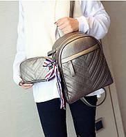 Рюкзак женский кожаный с сумочкой на цепочке (бронзовый)