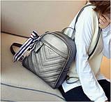 Рюкзак жіночий шкіряний з сумочкою на ланцюжку (бронзовий), фото 2
