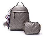 Рюкзак жіночий шкіряний з сумочкою на ланцюжку (бронзовий), фото 3