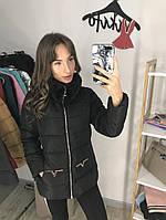 Женская плащевая куртка с мехом на воротнике 200115