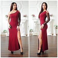 Вечернее длинное платье с сеткой на рукаве и разрезом 4503191