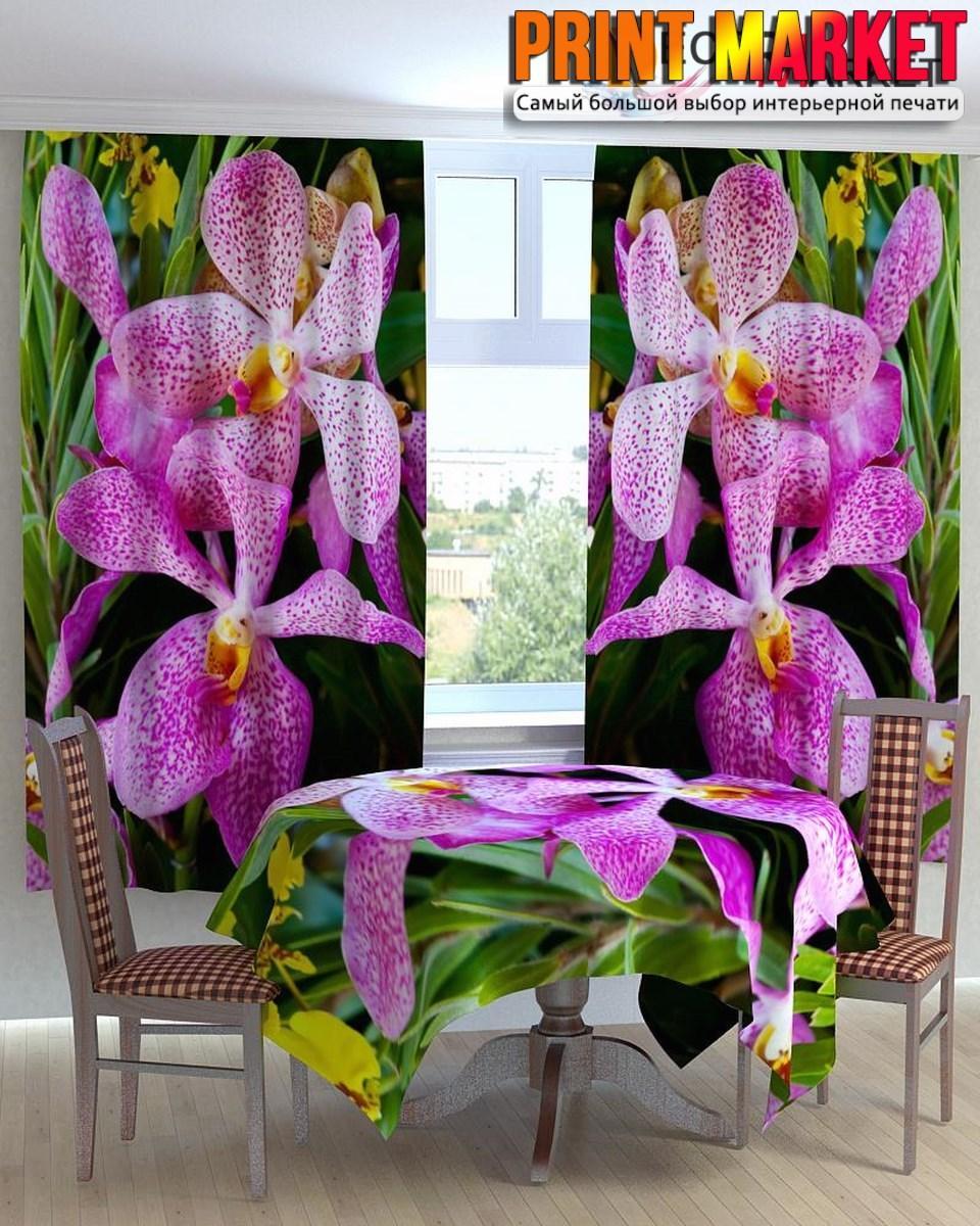 Фотошторы для кухни фиолетовые цветы 3д