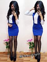 Приталенное двухцветное платье с рукавом 3/4 выше колена 2103204