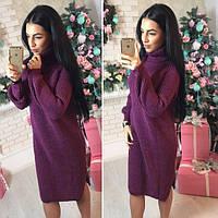 Теплое вязаное платье с высокой горловиной 4103212