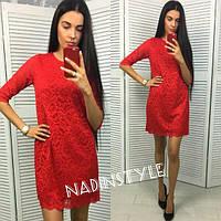 Кружевное прямое платье с рукавом до локтя 4403215