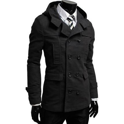 Двубортное черное кашемировое мужское пальто, фото 2