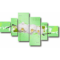 Модульная картина в гостиную ТРИ БЕЛЫЕ ОРХИДЕИ из 6 частей (зелёный)
