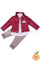 Костюм для девочки 3 в 1: куртка, реглан и джинсы (1-2 года)