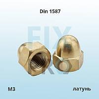 Гайка высокая колпачковая латунная Din 1587 M3