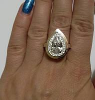 Кольцо женское серебряное с золотом и цирконием Констанция