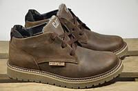 Мужские кожаные ботинки Caterpillar 12218 темно-коричневые