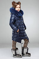 Полупальто детское зимнее с натуральным мехом на капюшоне