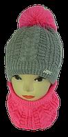 Шапка+шарф для девочек м 7080, 3-12 лет, флис