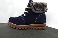 Синие женские зимние  ботинки натуральный нубук