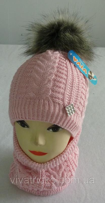 Шапка+шарф для девочек м 7082, 3-12 лет, флис