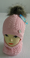 Шапка+шарф для девочек м 7082, 3-12 лет, флис, фото 1