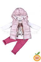 Костюм для девочки 3 в 1: жилетка, джемпер и джинсы 1-2 года (80, 86, 92 размер)