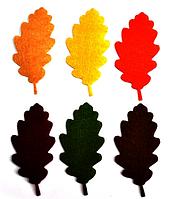 """Фетровый декор """"Листья дуба"""", 9 см. 6 шт/уп, микс"""