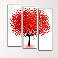 "Модульная картина ""Дерево из сердец"", фото 1"