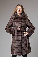 Шуба пальто с капюшоном мех нутрии 95 см