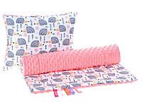 Комплект в детскую коляску BabySoon Ежики серые одеяло 75 х 78 см подушка 30 х 40 см кораловый (331)