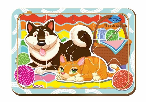 Деревянный паззл, 12 деталей «Кошка и собака»