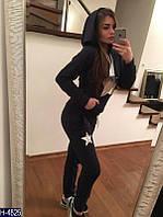 """Стильный темно-синий качественный женский спортивный костюм """"Звезда""""двунитка   Арт-15011"""