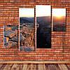 """Модульна картина """"Захід сонця над ущелиною"""""""