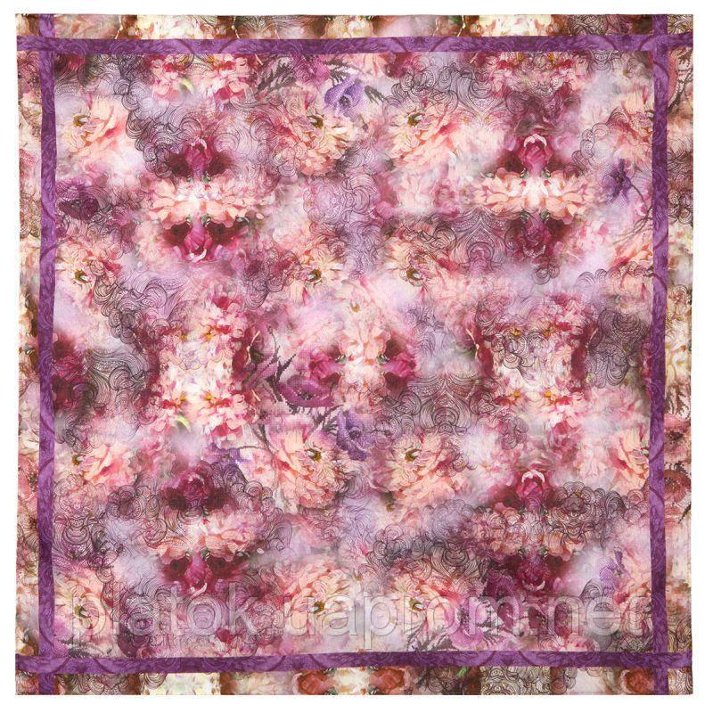 10278  платок хлопковый 10278-15, павлопосадский платок на голову хлопковый (саржа) с подрубкой