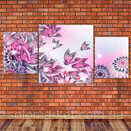 """Модульна картина """"Квіти"""", фото 2"""