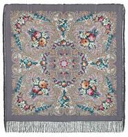 Тайна сердца 1437-1, павлопосадский платок шерстяной с шелковой бахромой   Первый сорт    СКИДКА!!!