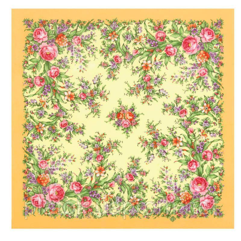 Цветочное настроение 1732-2, павлопосадский платок (крепдешин) шелковый с подрубкой