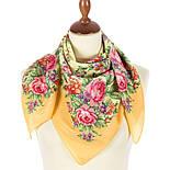 Цветочное настроение 1732-2, павлопосадский платок (крепдешин) шелковый с подрубкой, фото 2