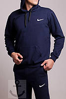 Мужской зимний спортивный костюм (кофта, штаны) Nike синий кенгуру