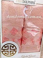 """Подарочный набор полотенец """"Gold Greek"""" (банное+лицевое) TWO DOLPHINS, розовый"""