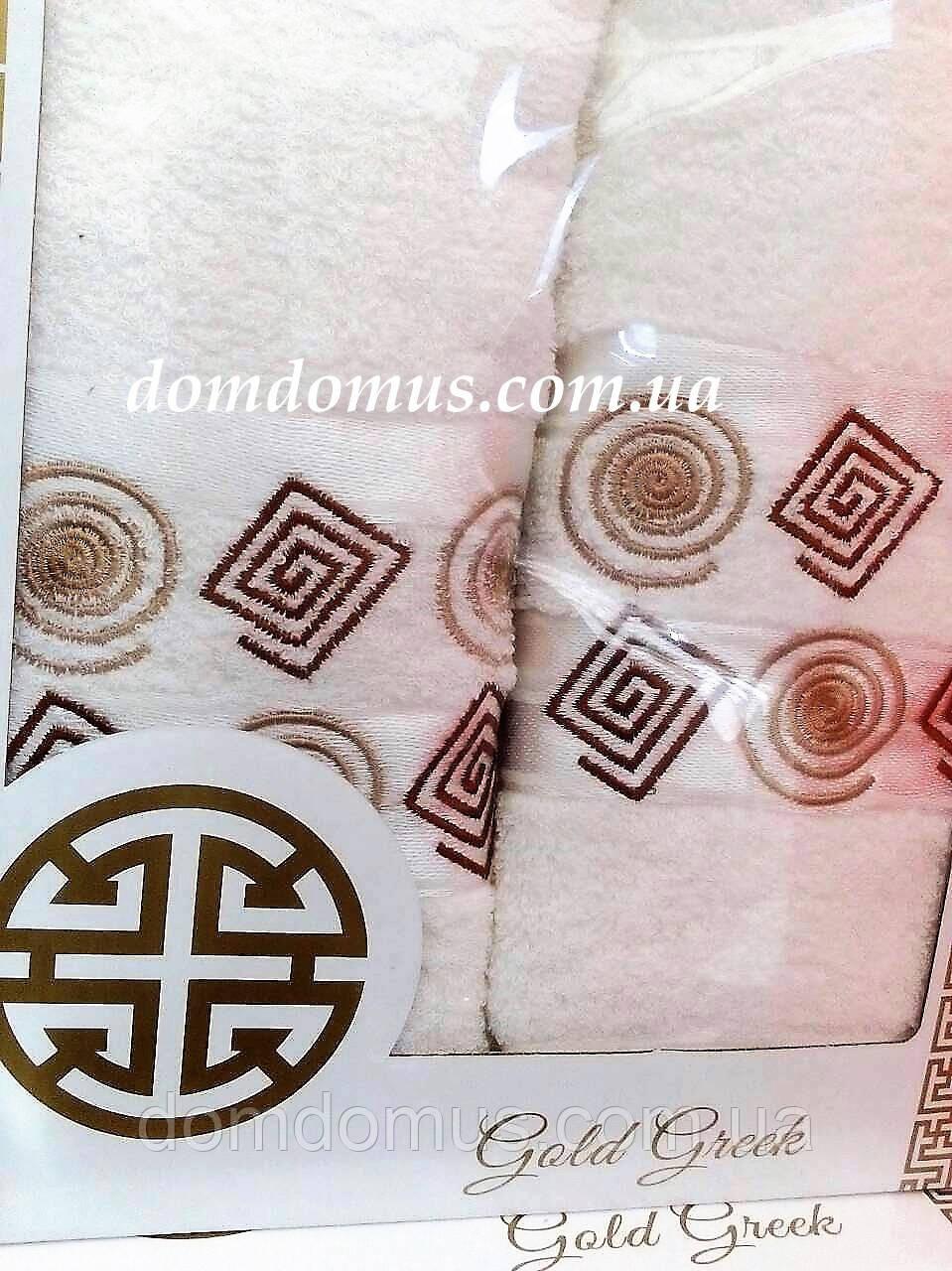 """Подарочный набор полотенец """"Gold Greek"""" (банное+лицевое) TWO DOLPHINS, молочный"""