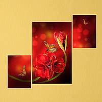 "Модульная картина ""Бабочка на цветке"", фото 1"