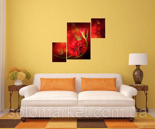"""Модульна картина """"Метелик на квітці"""", фото 2"""