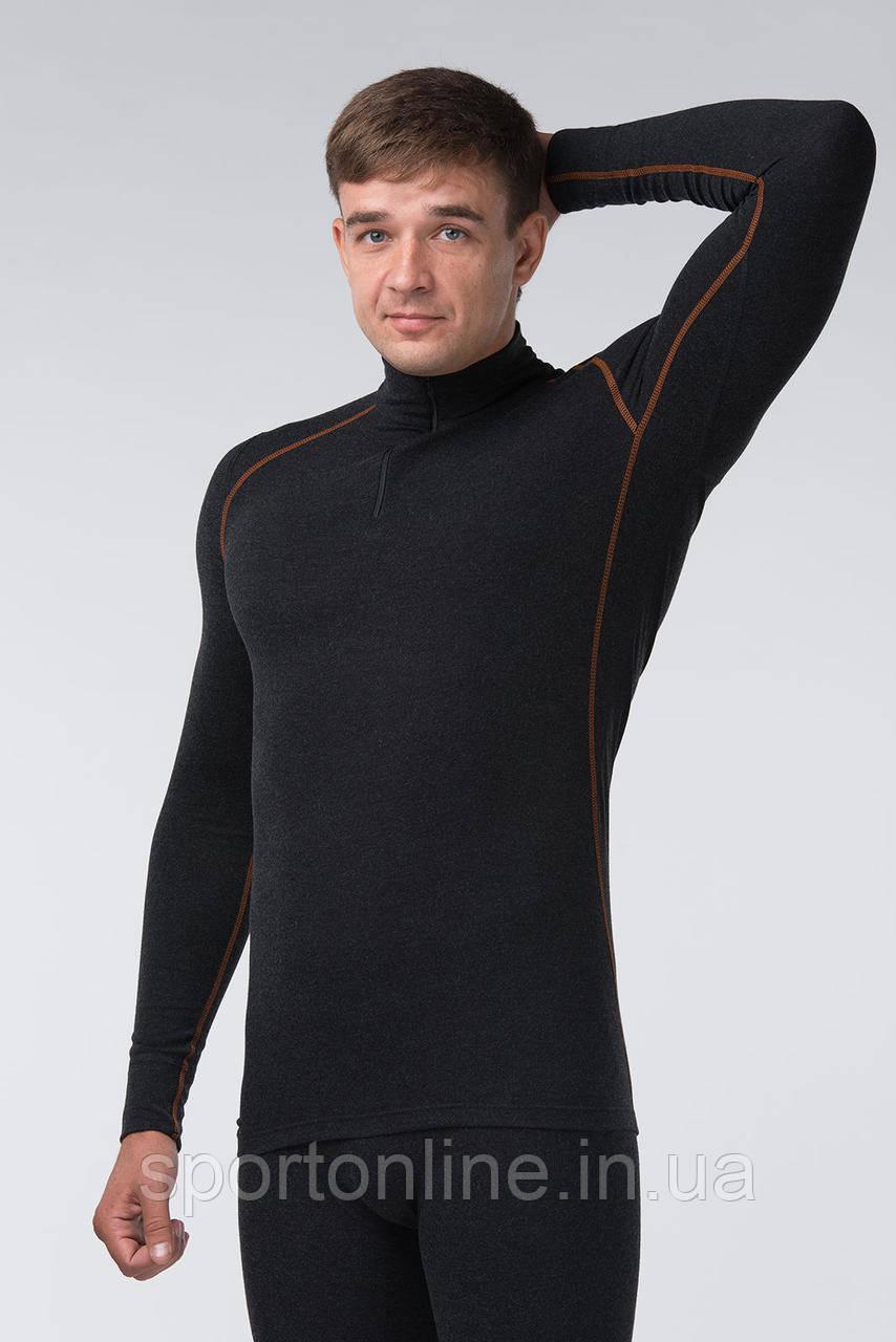 Джемпер (термоджемпер) мужской чёрный с белой строчкой
