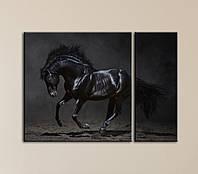 """Модульна картина """"Чорний кінь"""", фото 1"""