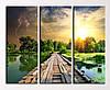 """Модульная картина """"Мост через озеро"""""""