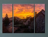 """Модульна картина """"Захід сонця над містечком"""", фото 1"""