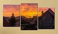 """Модульна картина """"Захід сонця над будинками"""", фото 1"""