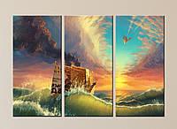 """Модульна картина """"Паперовий кораблик"""", фото 1"""
