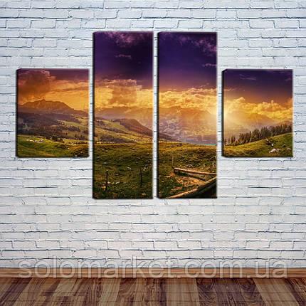 """Модульная картина """"Закат в горах"""", фото 2"""