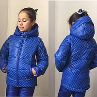 Детская зимняя куртка для девочки на синтепоне и флисе