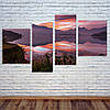 """Модульна картина """"Захід сонця над озером"""""""