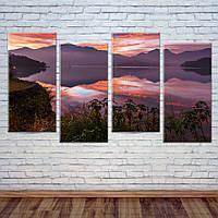 "Модульная картинам ""Закат над озером"", фото 1"