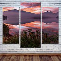 "Модульная картина ""Закат над озером"", фото 1"