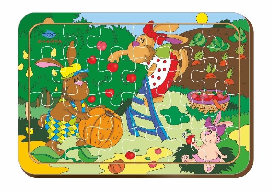 Деревянный паззл, 24 детали «Кроличья усадьба»